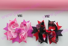 free shipping 300pcs Valentine's day hair bows-A Girl boutique bows layer hair bows  heart ribbon hair clippie