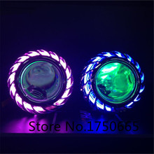 Universal Motorcycle 35w 2.0 inch Hid Bixenon Projector Lens Headlight Kit White Red Green Bule yellow CCFL Angel Eye
