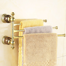 Antique Gold Movable Towel Bars European Marble Rotary Activities Towel Rack Holder Towel Bar Towel Holder Bathroom Accessories(China)