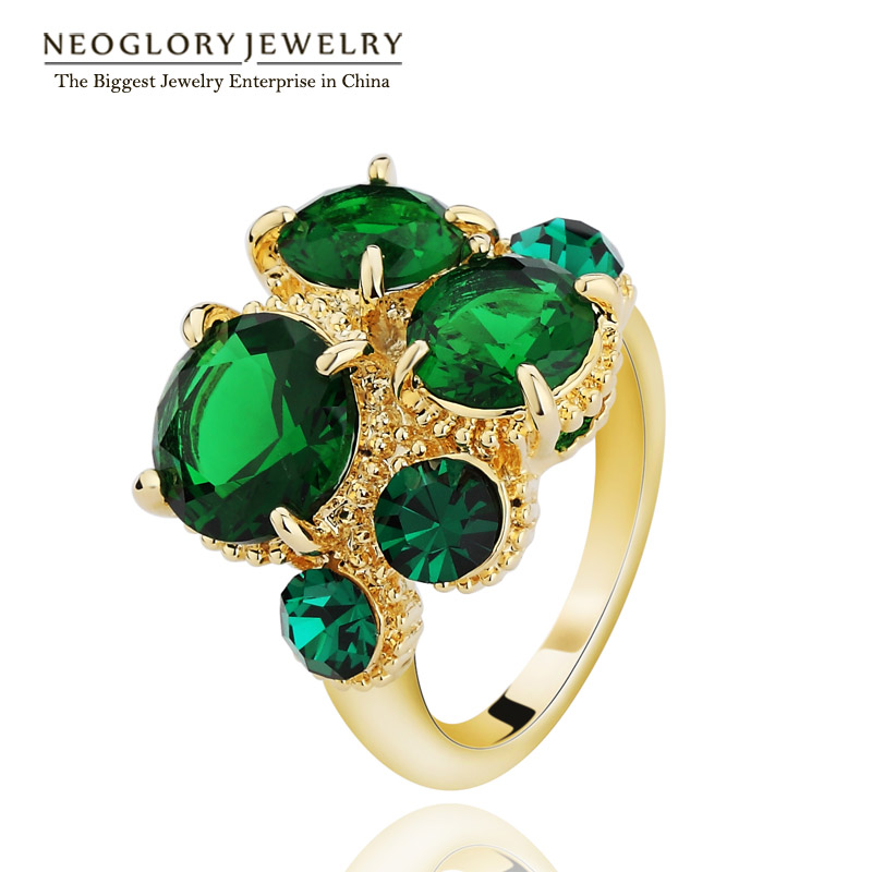 Neoglory Light Yellow Gold Color Zircon Green Blue Party Rings Statement Fashion India Jewelry Brand Gothic 2017 New Gifts(China (Mainland))