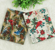 ZY DIY Brand New Design 2 Colors Christmas Bird & Pine cones printed Cotton Fabric for sewing bedding cloth decoration