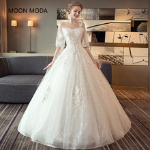 Buy long half sleeve muslim lace wedding dress high 2018 bride simple bridal gown real photo wedding-dress vestido de noiva for $72.54 in AliExpress store