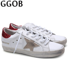 GGOB Handmade Womens Casual Shoes White Red Outdoor Walking Sequin Shoes  Genuine Leather Sneakers Brand Women Flatsl Shoes f11635a3e609