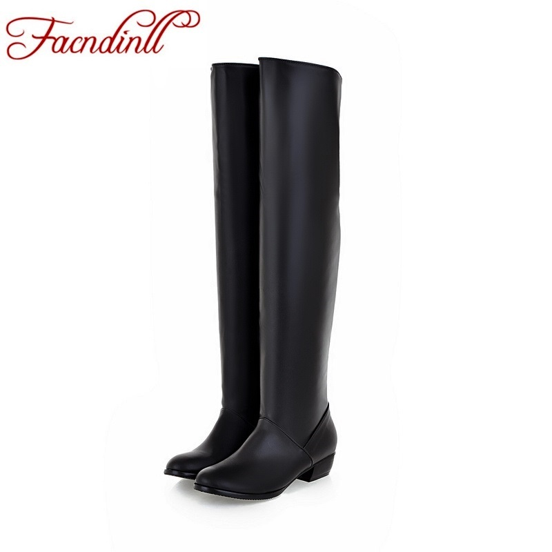 new fashion winter boots woman low heeled knee high boots 2017 round toe slip on casual black white winter boots big size 34-43<br><br>Aliexpress