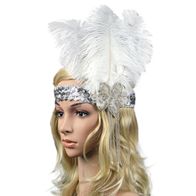Limit buy Women's Ostrich Feather Costume Headband Elastic Sequined Rhinestone Headpiece Headwear Hair Decoration White