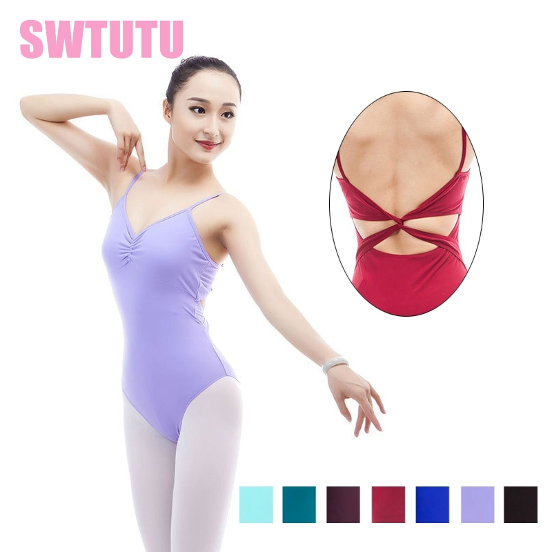 Purple Sleeveless matt lycra ballet black leotard for women dance clothes ballet dancewear costumes adult ML6035