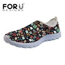 Forudesigns verano zapatos planos de los planos Maestro de dibujos animados  imprimir mujeres malla transpirable zapatillas b5a26da66af9