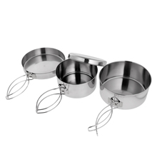 Outdoor 4 in 1 Stainless Steel Outdoor Backpacking Camping Picnic Cookware Cook Set for Hiking Backpacking Picnic Pot Accessory