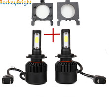 Rockeybright 1set For Ford Focus fiesta car H7 led headlight head lamp bulb kit+H7 led bulb holder adapter socket base retainers(China)
