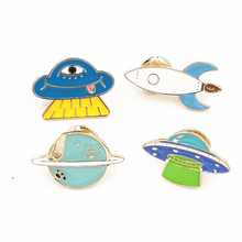 Timlee X180 Cartoon Cute Blue Planet UFO Roket Metal Brooch Pins Button Pins Jeans Bag Decoration Brooches Gift Wholesale