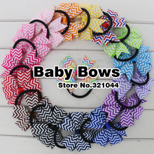Babymatch 80pcs 3'' Grosgrain Ribbon Hair Bows Chevron Printed Bows With Ponytail Holder Accessories Elastic Hair Bands(China)