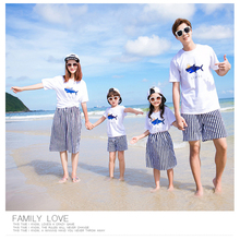 family clothes set matching mother daughter Father Son outfits 2017 Summer white T-shirt Cartoon Striped Skirt Children's Shorts