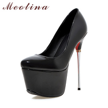 Buy Meotina Plus Size 9 10 Shoes Women Sexy High Heels Platform Extreme High Heels Ladies Shoes Club Party Shoes Wedding Pumps Gold for $34.96 in AliExpress store