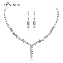 Minmin Simple Small Leaf Crystal Bridal Jewelry Sets Rhinestone Necklace Long Earrings African Beads Wedding Jewelry Sets TL002(China)