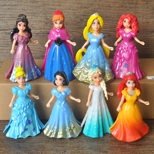 in stock 8pcs/set snow queen  snow white princess dress play doll toys children doll ornaments Automotive Decoration