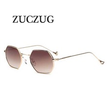 ZUCZUG Polygon shape sunglasses women men vintage luxury Brand Designer Clear lens sunglasses hexagon metal frame Eyewear oculos