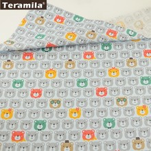 Teramila Cotton Fabric Printed Grey Cartoon Bears Head Designs Twill Material Cloth Patchwork Baby Dress Decoration Home Textile(China)