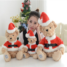 Cute 1pcs Christmas Bear Plush Toy Lovely Teddy Bear Doll Soft Soft Stuffed Animals Dolls Pillow Baby Kids Toys Birthday Gifts