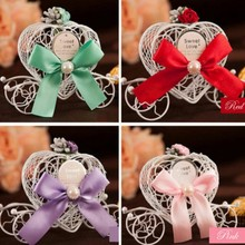 Metal Romantic Love Heart Candy Sweet Chocolate Carriage Box for Wedding Valentine Favors Gifts Boxes decoration anniversaire