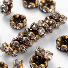 200 Grade AAA Rondelle Brass Rhinestone Spacer Beads jewelry making Nickel Free, Antique Bronze Metal Color 6x3mm hole:1mm