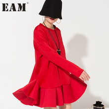 [EAM] 2017 New Fashion Simple space cotton flounced hem stitching dresses wholesale solid modeling AS12043(China)