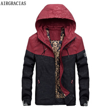 AIRGRACIAS Autumn Men's Camouflage Outwear Clothing Patchwork Jackets Lightweight Coat Pockets Casual Coats 3 Colors M-3XL