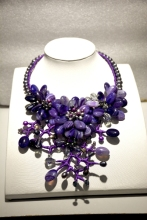 Fancy Gray Pearl Purple Agat flower necklace fashion agates jewelry