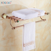 XOGOLO Romantic Antique Bathroom Towel Holder Double Rose Gold Wall Towel Rack Bath Accessories Gold Good Quality