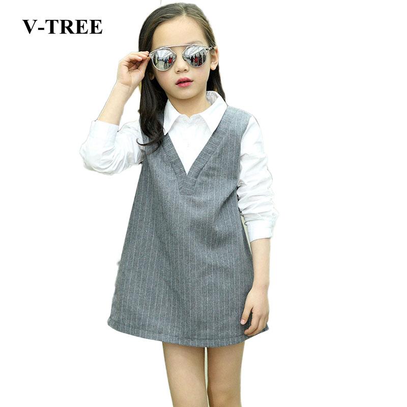 V-TREE long sleeve girls dress shirt collar teenagers dress cotton dresses for girls children dress 3-12Y<br><br>Aliexpress