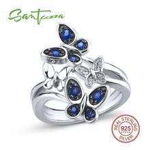 SANTUZZA Silver Butterflies Ring For Women 925 Sterling Silver Fashion Rings for Women 2017 Cubic Zirconia Ringen Party Jewelry(China)