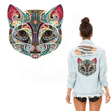New Egyptian style Multicolor Cat 25*24.37cm stickers iron on patches DIY patch on clothes jacket thermal transfer