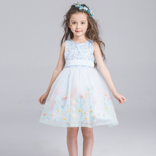 Flower girl piano princess dress for weddings party summer for size 2 3 4 5 6 7 8 9 10 11 12 years child blue 61show tutu dress