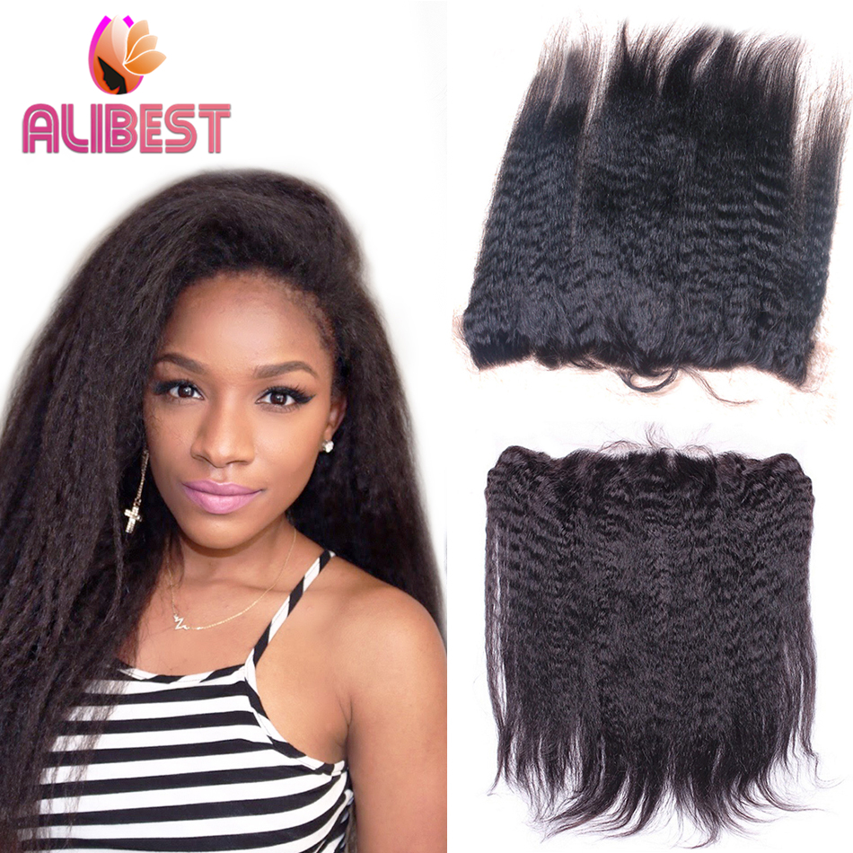 7A Kinky Straight Lace Frontal Closure Brazilian Lace Frontal Closure Kinky Straight 13x4 Full Frontal Closure With Baby Hair<br><br>Aliexpress