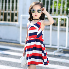 Summer Wear New Product Girl Stripe Joker Vest Cake Dress Kids Clothing
