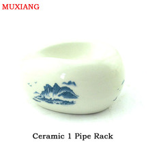 MUXIANG New Smoking Pipe Racks White Ceramic with Green Mountain 1 Pipe Stands Holder Pipe Accessories Factory Price fa0049(China)