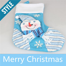 New Arrival Blue Santa Claus Christmas Stockings Gifts Candle Holders Christmas Tree Decorations Gift Bag Craft Supplies FD30