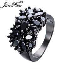 JUNXIN Elegant Black Gold Filled CZ Ring Unique Design Vintage Party Wedding Zircon Rings For Women Gifts Fashion Jewelry