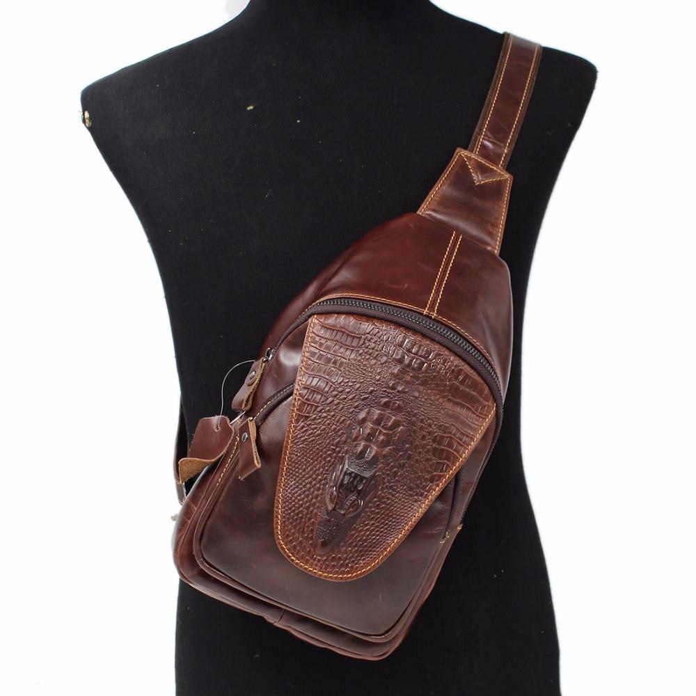 New Men Genuine Leather Chest Day Back Pack Rucksack Casual Single Shoulder Messenger Bag Crocodile Pattern Crossbody Bags<br>