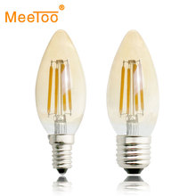 E27 E14 Retro LED Filament Light Bulb 2W 4W 6W 220V C35 Gold Yellow Glass Vintage Edison Led Lamp Holiday Light For Home Decor(China)