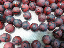Cyber Monday SALE --16inch16mm fire agate onyx polished round ball red black veins beads