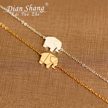 2017 Gold Color Charms Bracelet Femme Stainless Steel Women Dainty Jewelry Lucky Origami Elephant Bracelets Friendship Gifts BFF(China)