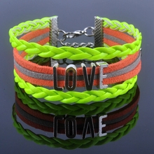 New Design LOVE bracelet Antique Alloy LOVE Alphabet Charm Bracelet Korea Cashmere Leather Bracelet Bangle XY160114