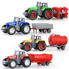 4pcs/set Alloy engineering car tractor toy model farm vehicle belt boy toy car model children's Day Xmas gifts