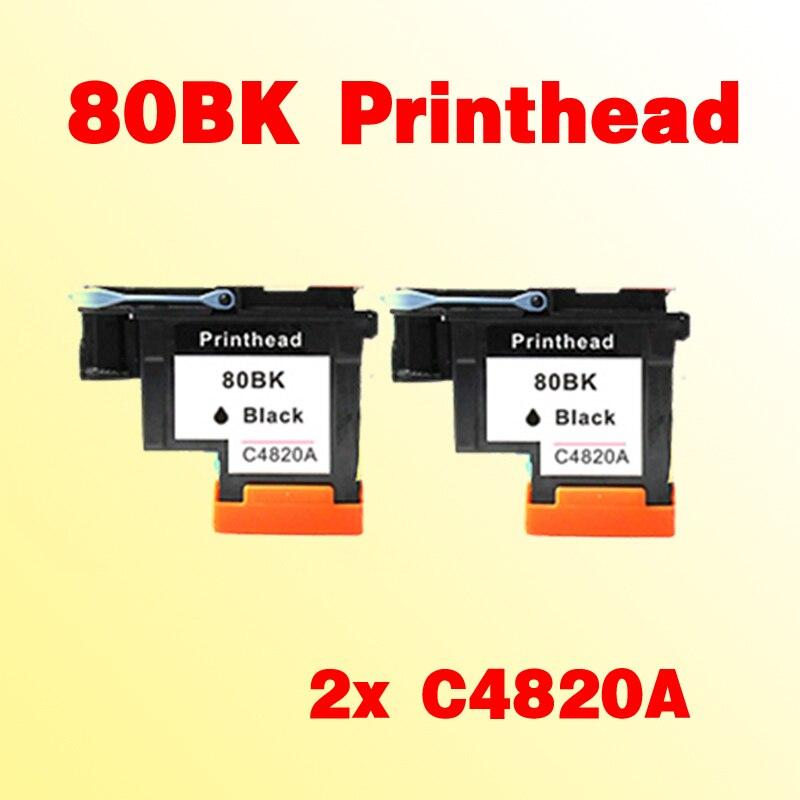 2pcs 80 black printhead compatible For C4820A Designjet 1000 1050c 1055cm printer<br>