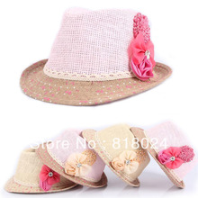 10pcs/lot Children Summer Fedora Hat, Baby Girls Flower Stone Jazz Cap Hat, Kids Straw Cowboy Hat Straw Cap Headgear Accessories