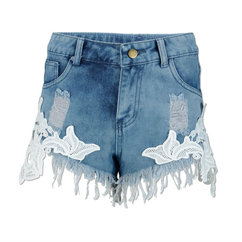Sexy Lace Stitching Denim Shorts Women Europe Summer Fashion Vintage Tassel Hot Shorts Plus Size Ripped Jeans Woman Light BlueОдежда и ак�е��уары<br><br><br>Aliexpress