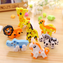 Funy 3D Animal Shaped Panda Horse Giraffe Removable Rubber Eraser Sale School Supplies Children Kids Stationery Toy Gifts E013