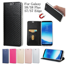 For Samsung Galaxy S8 Leather Case Luxury Carbon Fiber Flip Stand Cover for Samsung Galaxy S8 Plus S7 Edge Magnetic Phone Cover