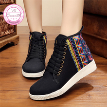 Meet Skate Shoes Canvas Shoes Women Elegant Ethnic Comfortable Fashion Breathable Walk High-Tie Lace Women's Singles Shoes(China)