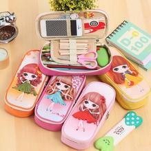1Pcs/set Cute Girl Design School Pencil Case Large Capacity Pencil Bag Leather For Children Student Pen Box Stationery Supplies(China)